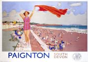Paignton, South Devon, English Vintage Great Western Railways Travel Poster Print